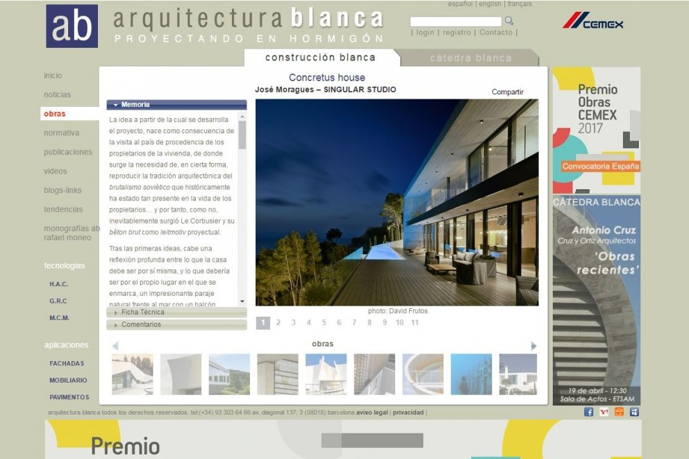 THE CONCRETUS HOUSE IN 'ARQUITECTURA BLANCA' WEBSITE