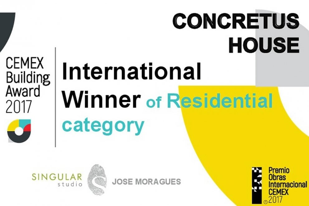 CONCRETUS HOUSE: FIRST INTERNATIONAL PRIZE IN ITS CATEGORY 'RESIDENTIAL HOUSING' IN CEMEX BUILDING AWARD 26TH EDITION.